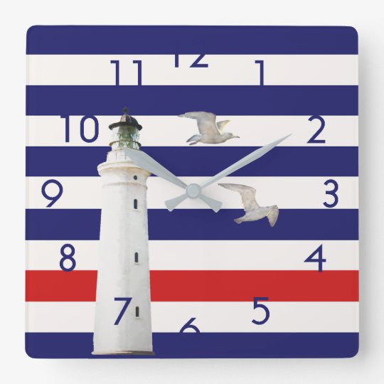 Blue white red nautical stripes with lighthouse square
