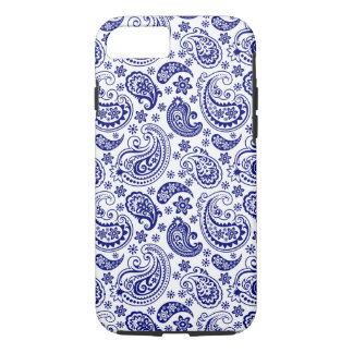 Blue & White Retro Paisley Ham Pattern iPhone 8/7 Case