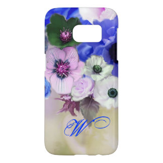 BLUE WHITE ROSES AND ANEMONE FLOWERS MONOGRAM
