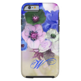 BLUE WHITE ROSES AND ANEMONE FLOWERS MONOGRAM TOUGH iPhone 6 CASE