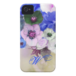 BLUE WHITE ROSES AND ANEMONE FLOWERS MONOGRAM iPhone 4 Case-Mate CASE
