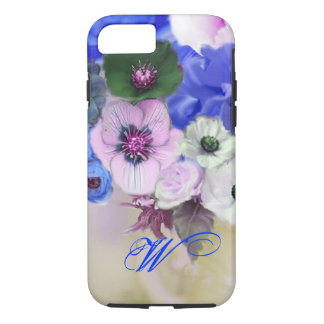 BLUE WHITE ROSES AND ANEMONE FLOWERS MONOGRAM iPhone 7 CASE