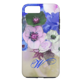 BLUE WHITE ROSES AND ANEMONE FLOWERS MONOGRAM iPhone 7 PLUS CASE