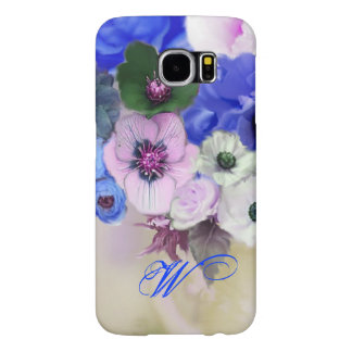 BLUE WHITE ROSES AND ANEMONE FLOWERS MONOGRAM SAMSUNG GALAXY S6 CASES