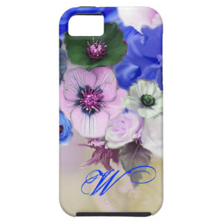 BLUE WHITE ROSES AND ANEMONE FLOWERS MONOGRAM TOUGH iPhone 5 CASE