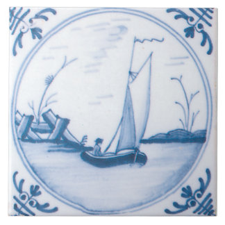 Blue White Sailboat Vintage Delft Art Tile