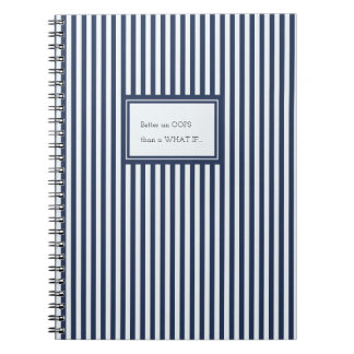 Blue & White Sailor Stripes Custom Text Notebook