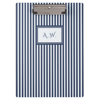 Blue & White Sailor Stripes Monogram Clipboard