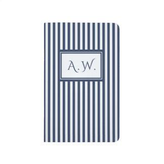 Blue & White Sailor Stripes Monogram Journal