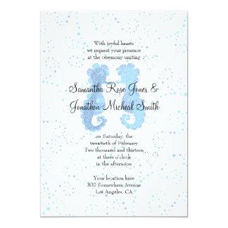 Blue & White Seahorse Pointillism Custom Wedding 5x7 Paper Invitation Card