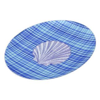 "Blue & White ""Shell"" Checked Melamine Plate"