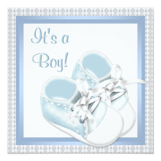 Blue White Shoes Blue Lace Baby Boy Shower Card