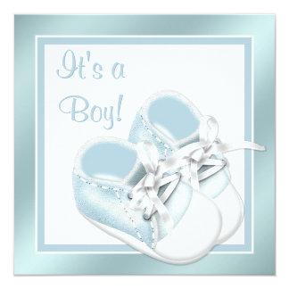 Blue White Shoes Elegant Blue Baby Boy Shower Card