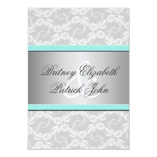 Blue White Silver Lace Wedding Invitations