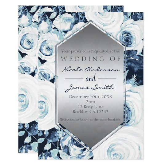 Blue White Silver Winter Wedding Vintage Roses Card