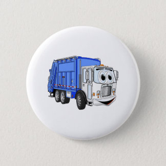 Blue White Smiling Garbage Truck Cartoon 6 Cm Round Badge