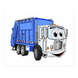 Blue White Smiling Garbage Truck Cartoon Postcard