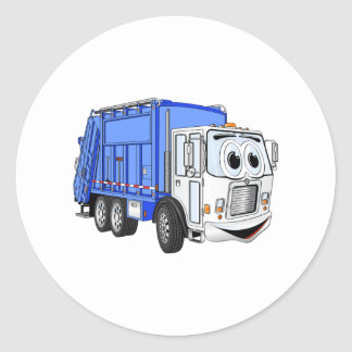 Blue White Smiling Garbage Truck Cartoon Round Sticker
