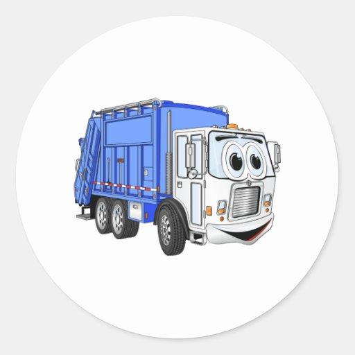 Blue White Smiling Garbage Truck Cartoon Round Sticker