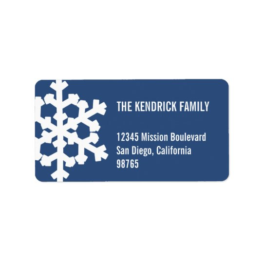 Blue white snow flake modern chic return address label