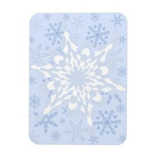 Blue + White Snowflake / L Blue Snowflake Blizzard Rectangular Photo Magnet