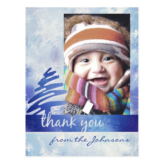 "Blue & White Snowflake ""Thank You"" Photo Postcard"