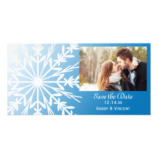 Blue White Snowflake Winter Wedding Save the Date Photo Cards