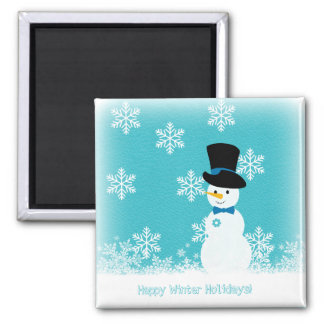 Blue white snowflakes and script funny snowman square magnet