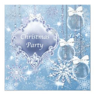 Blue White Snowflakes Christmas Party Card