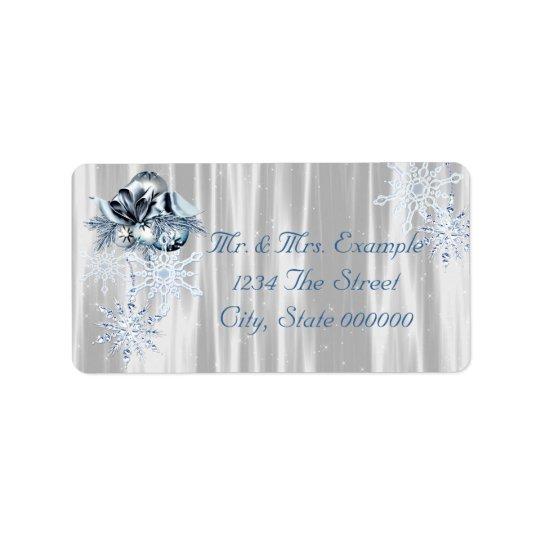 Blue White Snowflakes Label