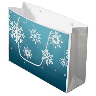 Blue White Snowflakes Pattern Christmas Large Gift Bag