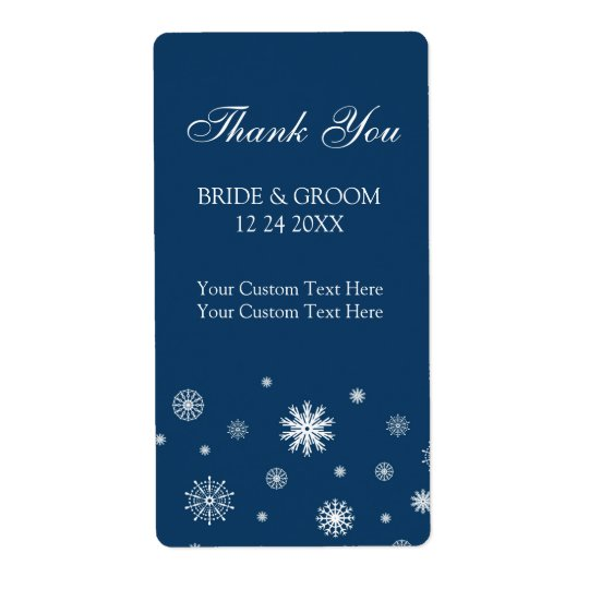 Blue White Snowflakes Winter Wedding Labels