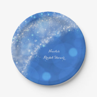 Blue & White Sparkle Cinderella Any Event Party 7 Inch Paper Plate