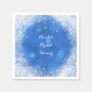 Blue & White Sparkle Cinderella Any Event Party Disposable Serviettes