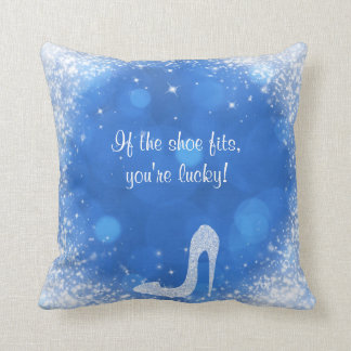 Blue & White Sparkle Cinderella High Heel Shoes Throw Pillow