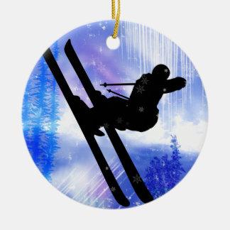 Blue & White Splashes Christmas Ornament