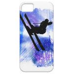 Blue & White Splashes Skier