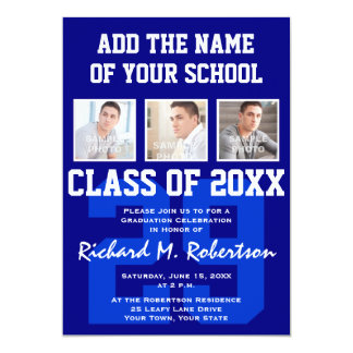 Blue White Sporty Guy's Graduation Varsity Number 13 Cm X 18 Cm Invitation Card