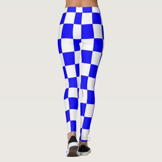 Blue & White Squares abstract repeatable geometric Leggings