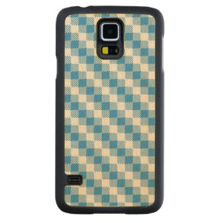 Blue-white squares background carved maple galaxy s5 case