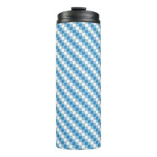 Blue-white squares background thermal tumbler