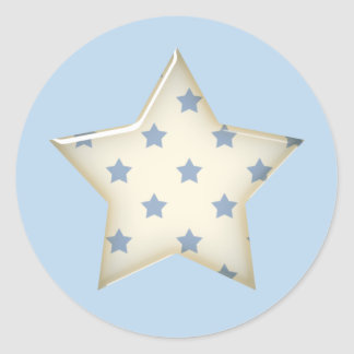 Blue White Star Stickers