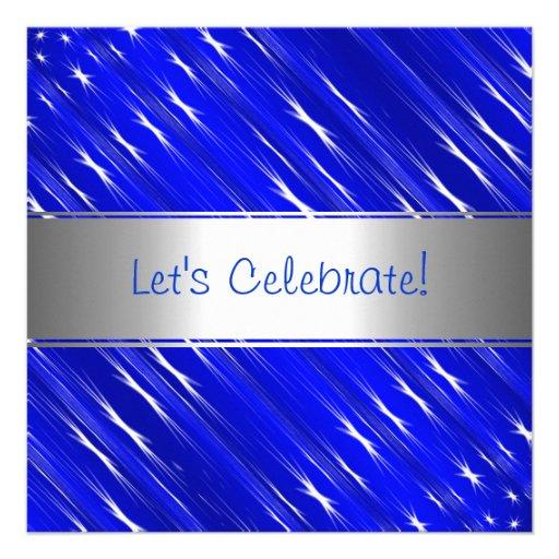 Blue White Stars Abstract Party Event Invitation Invite
