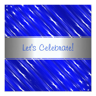 Blue White Stars Abstract Party Event Invitation