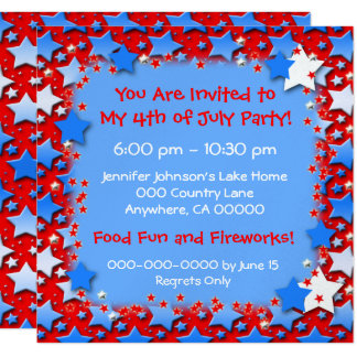 Blue White Stars on Red 13 Cm X 13 Cm Square Invitation Card