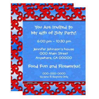Blue White Stars on Red 13 Cm X 18 Cm Invitation Card