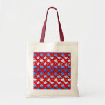 Blue White Stars on Red Canvas Bag
