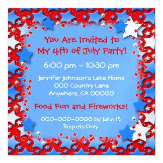 Blue White Stars on Red 5.25x5.25 Square Paper Invitation Card