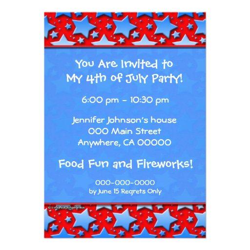 Blue White Stars on Red Custom Invites