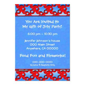 "Blue White Stars on Red 5"" X 7"" Invitation Card"